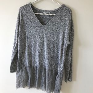 ZARA | Knit Top with Lace Detailing